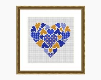 Cross Stitch Pattern, Modern Cross Stitch, MY HEART Blue/Yellow Cross Stitch Chart - Instant Download PDF