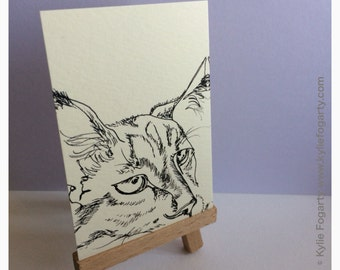 """Cat - ACEO PRINT, Black and White, Line Drawing, Animal Art, """"Line Cat"""", PRINT from Original Art - Unique Gift"""