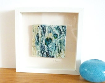 Mixed Media Art Ceramic Wall Art Framed Picture Abstract Paintings Contemporary Art Unique Artwork Home Decor Ceramic And Textile Pictures