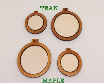Small wooden frame pendant for diy pendant/xmas decoration - Various shapes [3-pieces set, Finished/Unfinished, 28 Colors] - Bundled sets