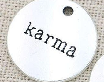 Karma - Charm Pendant Set of 6 - 20mm Disc Charms - Necklace Tags - Inspirational Charm - Silver Plated Charm - Jewelry Supply