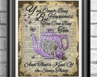 Dictionary Print, Teapot Print, Purple Print, Vintage Book Page Print, Butterfly Print, Tea Quote Print, Kitchen Print, Dictionary