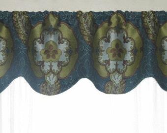 Window Valance, Scalloped Valance, Olive green, Blue, Brown, Flower, Shaped Valance