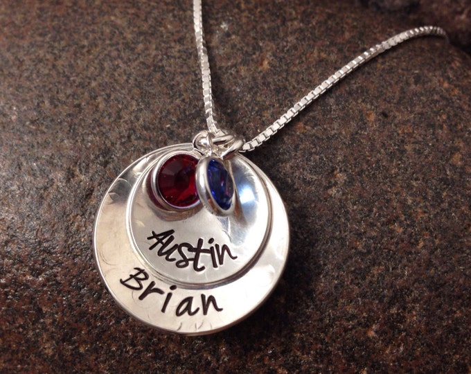 Sterling Silver Stacked and Domed Two Disk Mothers Necklace with Two Names and Birthstones