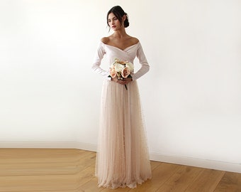 Off-Shoulder Dress, Champagne pearls tulle, Maxi Tulle Dress With pearl, Unique Bridesmaid Dress, 1178