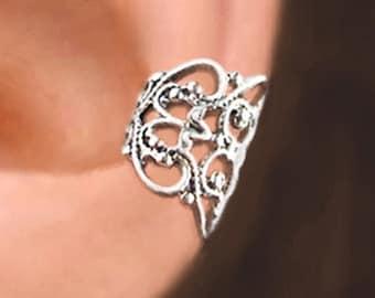 Lace Filigree sterling silver ear cuffs Sterling Silver earrings Filigree jewelry Filigree earrings ear clip jewelry handmade C-080
