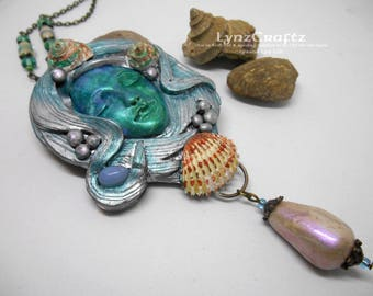 Ocean Dreaming polymer clay and resin jewelry pendant necklace handmade One of a Kind