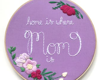 Floral Gift for Mom, Purple Decor, Mothers Day Gift, Mom Sign Decoration Gift for Mom, Mom Gift, Floral Decor, Flower Embroidery Sign KimArt
