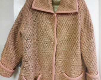 Women's Vintage Wool Fabric Coat Soft Pink/Beige - Loosely Sized Medium - Large
