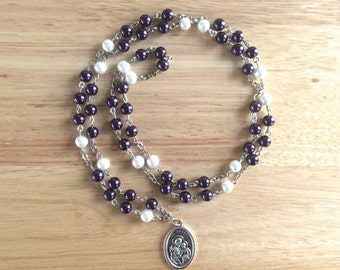 St. Joseph Handmade Catholic Chaplet with Violet and White Glass Pearl Beads