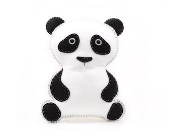 Panda Pattern, Felt Panda Bear Sewing Pattern, Panda Stuffed Animal Hand Sewing, DIY Panda Bear Stuffie, Panda Softie, Instant Download PDF