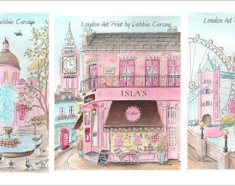 London Girl Art Prints Pink Personalized London Themed Nursery, Travel Themed Nursery, Nursery Wall Art, Set Of 3, 6 Sizes - 5x7 to 24x36