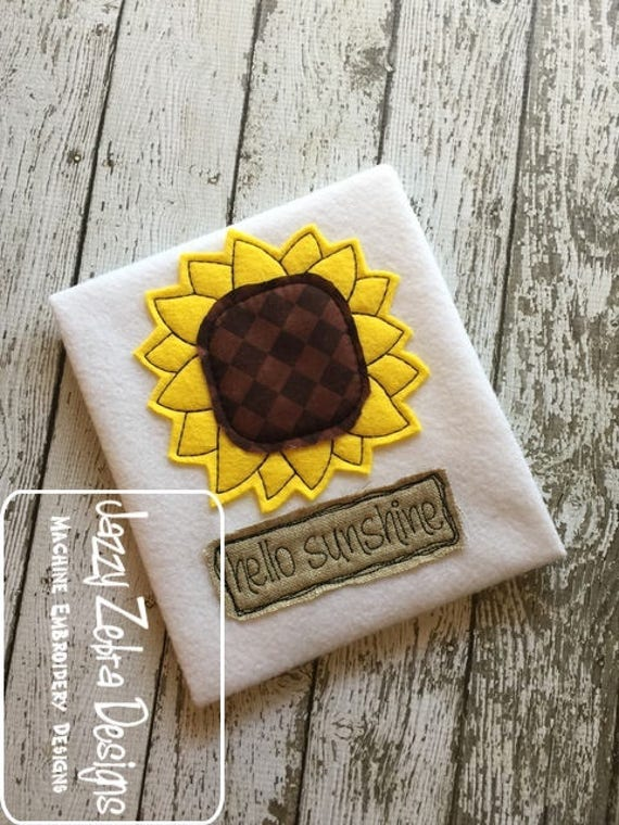Hello sunshine sunflower shabby chic appliqué embroidery design - sunflower appliqué design - fall appliqué design - flower appliqué design
