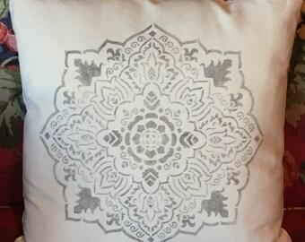 "Medallion Hand Stenciled Canvas Farmhouse Pillow Cover -16"" Square"