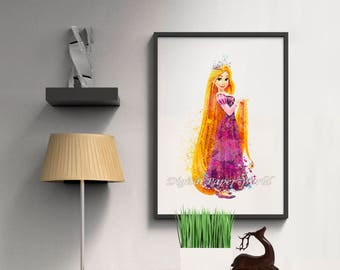 DIY Rapunzel watercolor print Instant download Disney wall decor Princess Rapunzel poster Printable art kids room wall art Nursery decor D15
