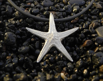 Hand forged starfish Pendant 925 silver