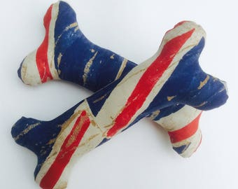 Hand made bone shaped dog toy, distressed Union Jack print