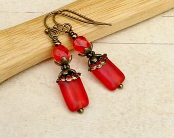 Red Earrings, Victorian Earrings, Antique Gold Earrings, Red Dangle Earrings, Czech Glass Beads, Cherry Earrings, Red Jewelry, Gifts for Her
