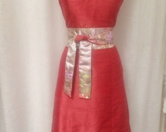 Coral Mandarin Collar Silk Shantung Cheongsam Dress, Size Small (6)