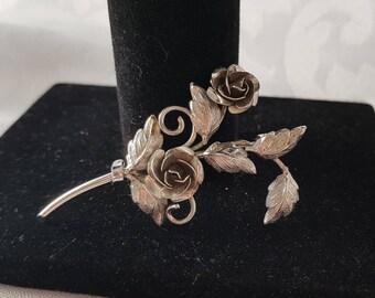 Sterling Silver Rose Brooch, Rose Brooch, Silver Rose Brooch, Rose Brooch, Rose, Brooch