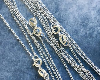 Sterling silver chain, wholesale, sterling silver trace chain, 16 inch, 18 inch finished sterling silver chain, Jewellery Making Supplies