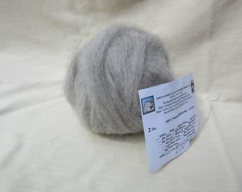 2 oz Light Silver Grey Alpaca Roving - for Spinning, Nuno Felting or Needlefelting