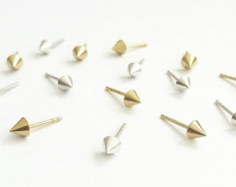 Minimalist Cone Stud Earrings. Cone stud spike studs. 14K Yellow, 14K Rose or 14K Gold Studs. 18K Rose, Yellow or White Gold cone studs.