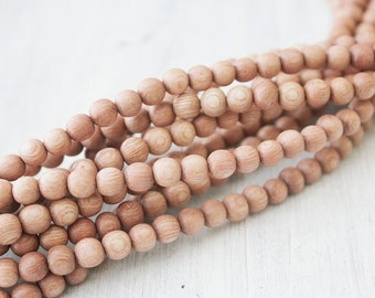 6mm Rosewood Beads Pink Beads Round Natural Wood Beads