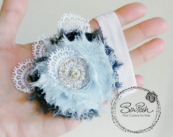 Lizzy- blue baby headband, blue lace headband, shabby chic headband, blue baby bow, blue flower headband, flower girl hair piece, lace bow