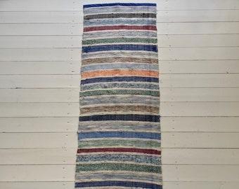 Vintage Swedish Rag Rug in Pale Blues,Greens Colored Stripey Rag Rug Runner Upcycled 1930s Floor Cover European Interior Antique