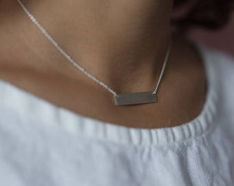 Bar Necklace   Personalized   Handmade Hand Stamped Minimalist Necklace   Sterling Silver   Gold   Rose Gold