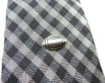 Football Tie Tack Sterling Silver Ox Finish Gifts For Men Sports Gifts