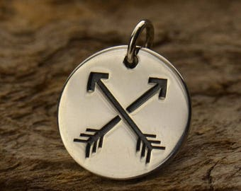 Sterling Silver Crossed Arrow Disc Charm