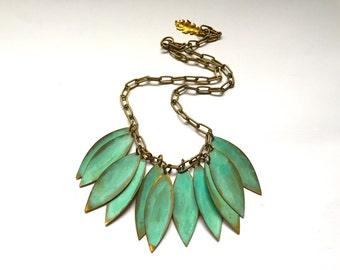 Verdigris Leaf Necklace
