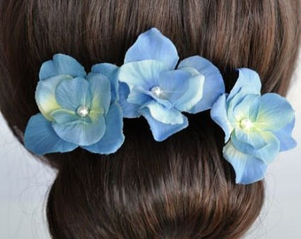 Set of 3 Handmade French Blue Hydrangea Hair or Bobby Pins (Pearl-396)