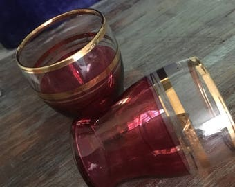 Perfect pair of cranberry & gold vintage shot glasses