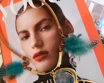Necklace Boho  Blue Druzy Gemstone Pendant with Blue Feathers