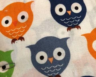 Personalized REVERSIBLE Baby Bandana Bib /Bibdana / Choose Organic Bamboo or Minky / Boy Owls