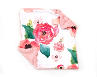 Lovey Floral Dreams. Lovey. Floral Lovey. Coral Lovey. Mini Baby Blanket. Security Blanket. Lovie. Minky Lovey.