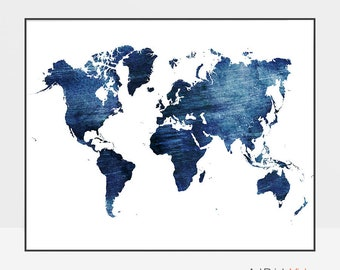 Large world map, Travel map, world map poster, world map wall art, world map print, world map distressed, gift decor, ArtPrintsVicky