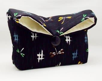 Foldover clutch, Fold over bag, clutch purse, evening clutch, wedding purse, bridesmaid gifts - Dragonflies (Ref. FC26)