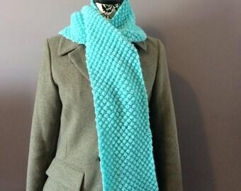 Knitted Scarf, Hand Knit Trinity Scarf, Aqua Marine Scarf, Blue Scarf, Trinity Scarf,