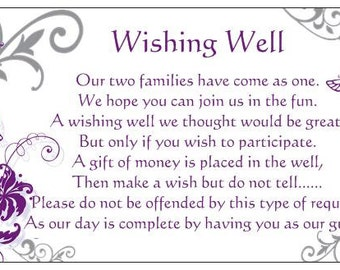 10 WISHING WELL CARDS purple and silver butterflies to include with wedding invitations gift cards wedding wishes