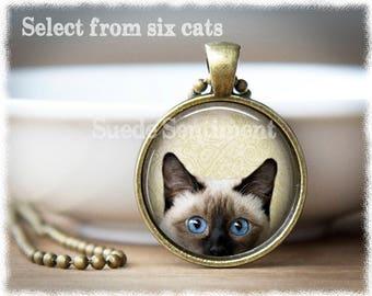 Siamese Cat Necklace • Peeking Cat Jewelry • Cat Lover Gifts • Cat Pendant • Cat Gifts • Cat Adoption