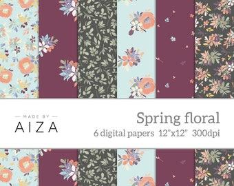 "Spring floral pattern digital paper – digital scrapbooking paper – instant download – 300dpi jpegs – 12"" x 12"""
