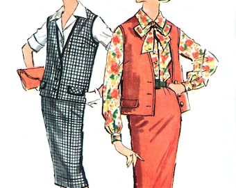 Blouse, Skirt and Sleeveless Jacket // Simplicity 2854 sewing pattern
