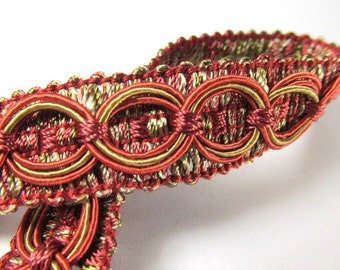 Cranberry Red and Sage Green Circle Patterned 3/4 inch Fancy Braided Decorator Gimp Trim