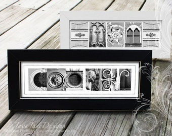 Personalized Framed Name created in Alphabet Letter Photos (Black and White Photos), Housewarming Gift, Wedding Decor, Name Frame Letter Art