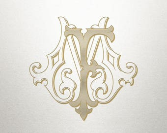 Wedding Invitation Monogram - FM MF - Invitation Monogram - Vintage