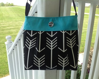 Black and teal  arrow  purse, bag, purse with teal with buttons. Arrow purse, arrows, grey arro
